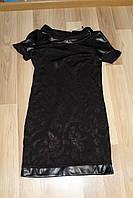 Платье из дайвинга с узором и кожаными вставками 46 размер