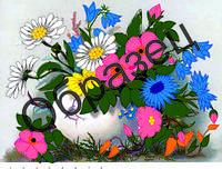 Схема для вышивки лентами «Букет цветов»