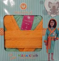 Детский халат для девочки Philippus светло-зелёный с слоником 3-4 года.