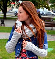 Шарф снуд (шарф хомут) светло-серый