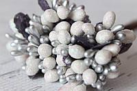Декоративные веточки с тычинками 1012 шт/уп. в глитерной обсыпке белый с серебром