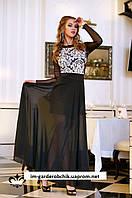 Вечернее длинное платье из струящегося королевского шифота и жаккардового стрейч-трикотажа.