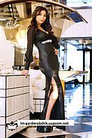 Вечернее длинное платье  из стрейч-трикотажа с тиснением и однотонного шифона.