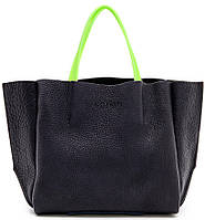 Женская, стильная кожаная сумка с цветными силиконовыми ручками POOLPARTY из коллекции SOHO арт.: limited-soho