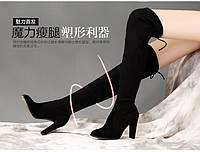 Замшевые супер высокие  ботфорты сапоги - чулки на каблуке