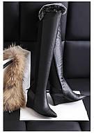 Красивые кожаные ботфорты с мехом на танкетке