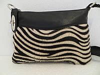 Женский клатч кожаный с натуральным мехом, черный - лео.. Италия Разные цвета