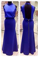 Женское вечернее длинное платье с открытой спиной
