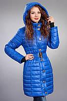 Зимняя женская молодежная куртка. Код К-52-12-15. Цвет яркий синий (электрик).