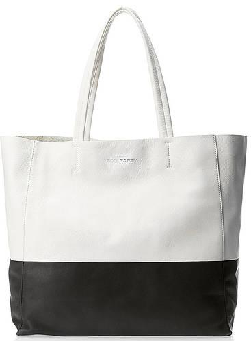 Элегантная женская кожаная сумка POOLPARTY Devine devine-white-black белый/черный
