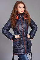 Зимняя женская молодежная куртка - парка. Код К-48-12-15. Цвет синий с рыжим.
