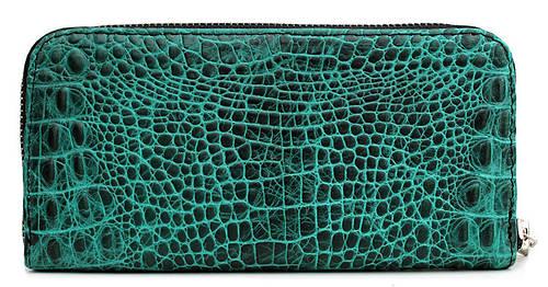Стильный кошелек из натуральной кожи POOLPARTY Артикул: crocodile-wallet-green зеленый