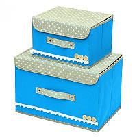 Короб органайзер с крышкой для белья, вещей, рукоделия. Набор 2шт. Голубой