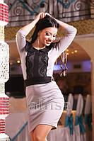 Платье мини с черной кружевной вставкой впереди  218