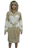 Короткий, женский, пушистый, халатик с капюшоном.№ 3066 производитель Турция, фирма Kiran