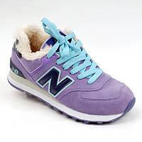 Зимние женские кроссовки ботинки на меху New Balance WL574 (WL574_01)