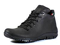 Высокие мужские кожаные зимние ботинки на меху черные GS-комфорт, фото 1
