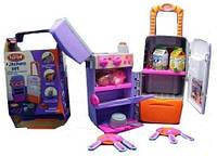 """Детская кухня 3 в 1 """"Кухня на колесах"""": раковина+плита+холодильник+чемоданчик"""