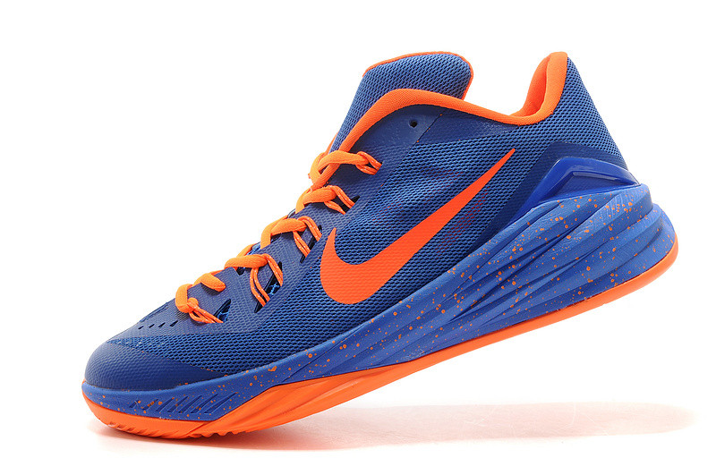 Blue and orange nike basketball shoes