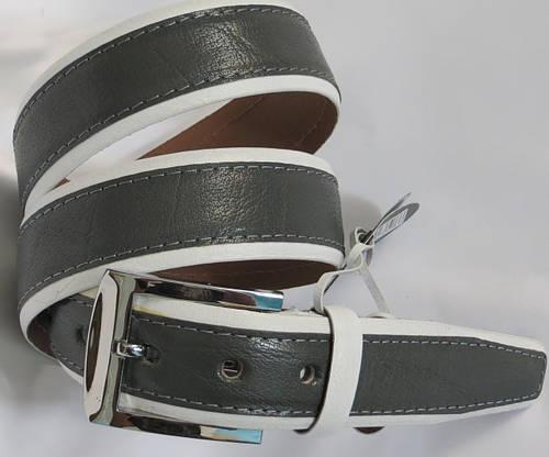 Ремень классический брючный кожаный Mykhail Ikhtyar 3537 серый/белый ДхШ: 118х3,5 см.