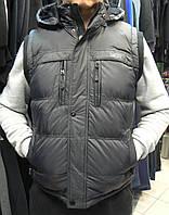 Жилетка универсальная на двойном синтепоне с капюшоном чёрная. Киев.