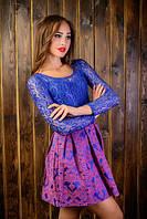 Платье женское из гипюра и французского трикотажа