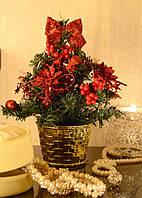 Елка  искусственная  маленькая украшенная Красная  20 cm  0424R