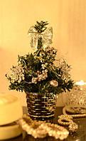 Елка  искусственная  маленькая украшенная  серебром  20 cm  0424 S