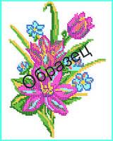 """Схема для вышивки бисером на водорастворимом флизелине """"Цветы"""""""