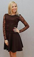 Платье с гипюром коричневый, фото 1
