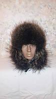 Мужская шапка ушанка , енот + кожа