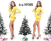 Платье мини желтого цвета с баской 088 ж