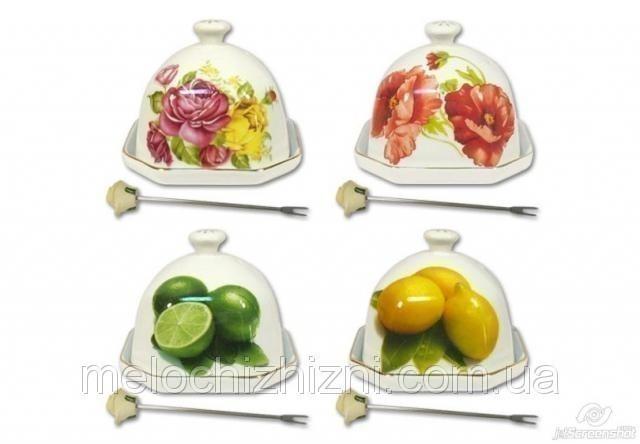 Лимонница с вилочкой красивые пионы 18см*12см*10см цв.уп. (993383)