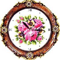 Часы Розы. Набор для вышивания крестом с печатью на ткани c механизмом 11ст