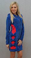 Халат велюровый бантики синий, фото 1