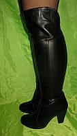 Кожаные Ботфорты на небольшом каблуке зимние