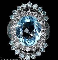 """Бесподобное кольцо с небесным топазом в """"юбке"""""""