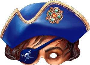 """Маска """"Пират"""" в синей шляпе , 376х178 мм, 10шт."""