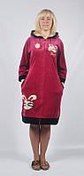 Женский велюровый длинный халат с капюшоном - зайчики