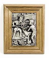 Панно, картина, оловянные в дубовой раме, Германия