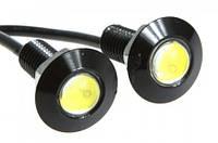 Светодиодный линзованый мини светильник 12V 1.5W Вт с гайкой черный наружный Код.58114