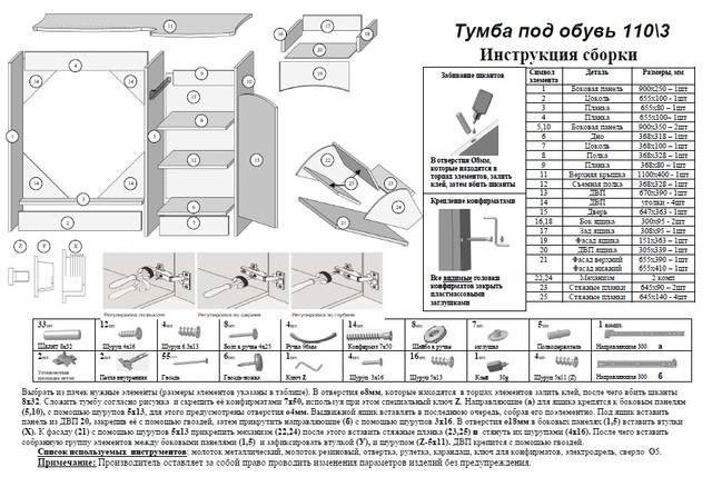 Инструкция по сборке тумбы для