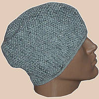 Мужская вязаная шапка-носок(утептленный вариант) объемной ручной вязки