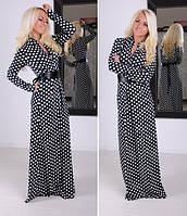 Платье макси в горошек с поясом в комплекте  309
