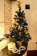 Елка  искусственная большая  украшенная  Золотая с синим 60 cm 0456 GB