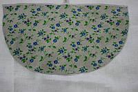 Полотенце льняное полукруглое с голубыми цветам