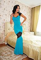"""Облегающее вечернее платье масло в пол """"Бриана"""" с гипюровыми вставками (4 цвета)"""