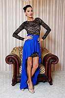 """Облегающее гипюровое мини платье """"Helen"""" с открытой спиной и съемной юбкой (18 цветов)"""