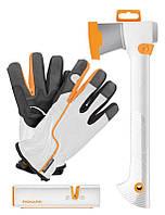 Набор Fiskars 129040 топор Х7 точило перчатки