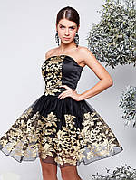 Платье женское Анаит новогоднее бежевое из атласа с отделкой из венецианского фасона